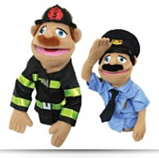 Police Officer And Fire Fighter Puppets