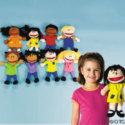 Plush Happy Kids Hand Puppets Set